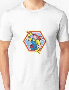Plumber Holding Plunger Wrench Cartoon T-Shirt