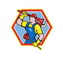Plumber Holding Plunger Wrench Cartoon by patrimonio