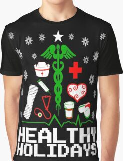 Healthy Holidays Nurse Tree Graphic T-Shirt