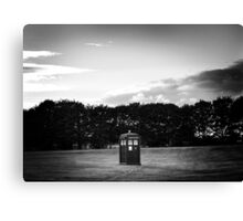 The TARDIS & sunset (in black and white) Canvas Print
