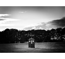 The TARDIS & sunset (in black and white) Photographic Print