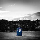 The TARDIS & sunset (the Blue Box colour edit) by Tiia Öhman