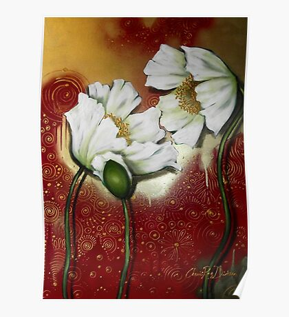 White Poppies on Red Poster