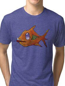 Orange Zombie Fish Tri-blend T-Shirt