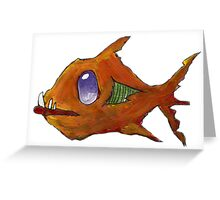 Orange Zombie Fish Greeting Card