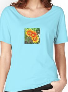 Three Bright Colored Gazania Flowers and Garden Women's Relaxed Fit T-Shirt