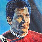 Shatner as Kirk in colored pencil  by Cleave