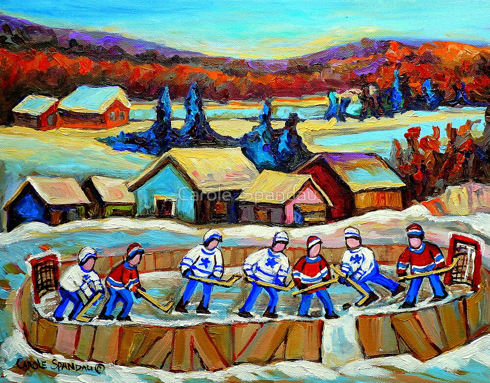 POND HOCKEY HAPPY CHILDHOOD MEMORIES by Carole  Spandau
