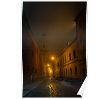 Narrow street in Parma at fuggy evening Poster