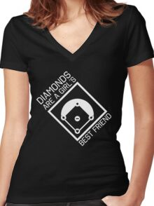 Diamonds are a girls best friend Women's Fitted V-Neck T-Shirt