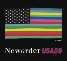 "New order Flag ""1989 USA tour"" design shirt by Shaina Karasik"