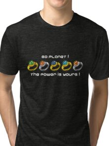 Planeteer Rings - Go Planet! - White Font Tri-blend T-Shirt