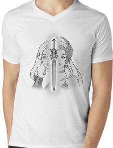 She-Ra Princess of Power - Adora/She-Ra/Sword - Black & White Mens V-Neck T-Shirt