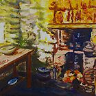 The Hearth, Magheragallen Byre Dwelling, Cultra, County Down. Oil/ acrylic on box canvas, 10 x 12 inch. by Laura Butler
