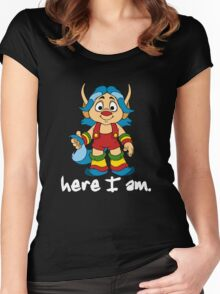 She-Ra Princess of Power - Loo Kee - Here I Am - White Font Women's Fitted Scoop T-Shirt