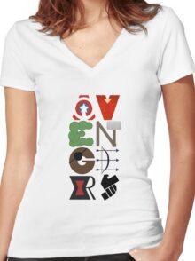 Avengers Typography Women's Fitted V-Neck T-Shirt