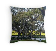 Oz Countryside...canola framing eucalypts. Throw Pillow