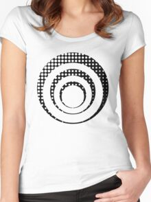 Modern techno shrinking polka dots black and white Women's Fitted Scoop T-Shirt