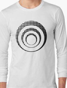 Modern techno shrinking polka dots black and white Long Sleeve T-Shirt