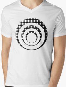 Modern techno shrinking polka dots black and white Mens V-Neck T-Shirt