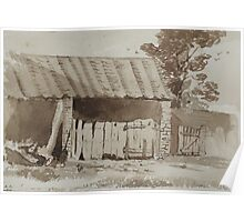 Pen and wash drawing - barn 1876 Poster