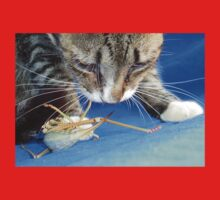 Close Up of A Tabby Cat and Katydid One Piece - Short Sleeve
