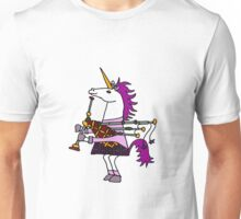 Cool Funny Unicorn Playing the Bagpipes Unisex T-Shirt