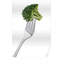 Broccoli on a fork isolated on white background and copy space Poster