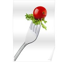 Cherry tomato and curly endive on a fork isolated white background and copy space Poster