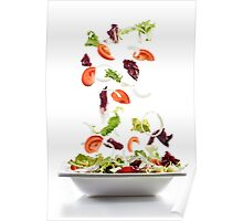 Salad with fresh vegetables falling on plate Poster
