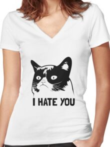 Grumpy Cat hates you! Women's Fitted V-Neck T-Shirt