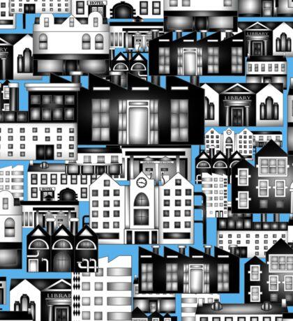 SPLASHYARTYSTORY - ALL ABOUT BUILDINGS blue Sticker