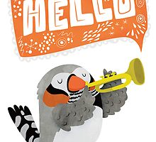 Zebra Finch Playing A Trumpet Says Hello Card by Claire Stamper