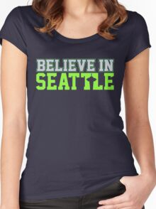 "VICTRS ""Believe In Seattle"" Women's Fitted Scoop T-Shirt"