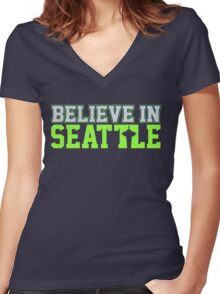 """VICTRS """"Believe In Seattle"""" Women's Fitted V-Neck T-Shirt"""