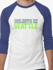 """VICTRS """"Believe In Seattle"""" Men's Baseball ¾ T-Shirt"""