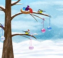 Chickadees celebrate Christmas by Nika Lerman