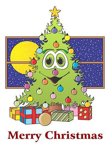Cartoon Christmas Tree Card by Graphxpro