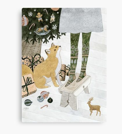 Christmas tree decorating Canvas Print