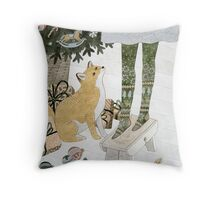Christmas tree decorating Throw Pillow