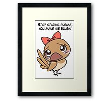 Cute finch girl bird with pink bow tie Framed Print