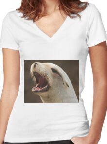 Sea Lion Women's Fitted V-Neck T-Shirt