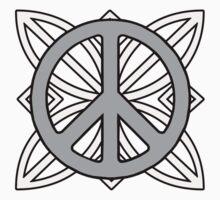 Peace Sign Dark Gray over Light Gray One Piece - Long Sleeve