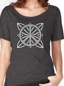 Peace Sign Dark Gray over Light Gray Women's Relaxed Fit T-Shirt