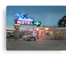 Historic Rt. 66 Blue Swallow Motel Canvas Print