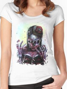 Day of the Dead Girl Zombie Women's Fitted Scoop T-Shirt