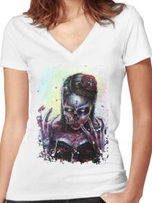 Day of the Dead Girl Zombie Women's Fitted V-Neck T-Shirt