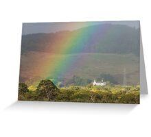 Rainbow over Farmstead Greeting Card