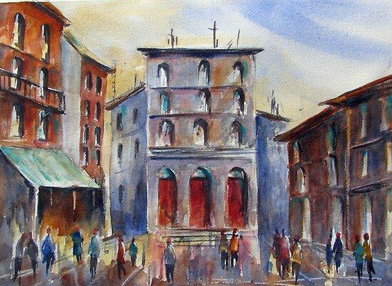 Sunlit Piazza by bevmorgan