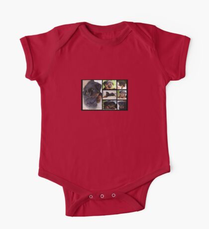 Collage Of Cute Female Rottweiler Puppy One Piece - Short Sleeve
